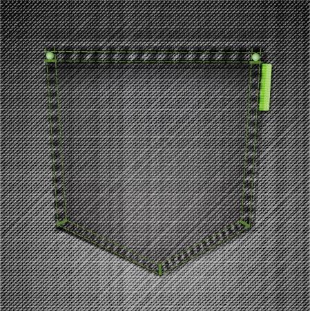 jeans pocket: Pocket of black jeans  Vector