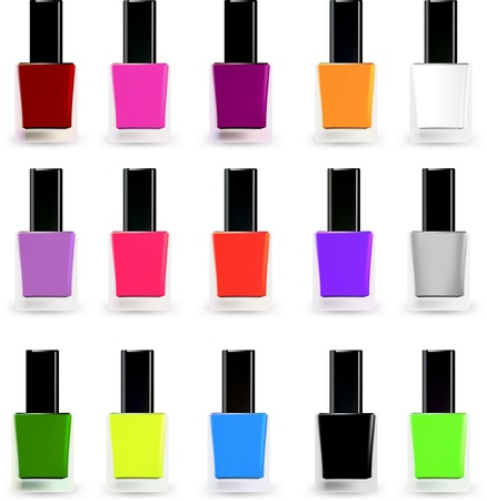 Set bottles of nail polish in various colors  Vector Çizim