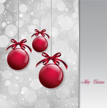 Red Christmas Balls on shiny card  Vector Vector