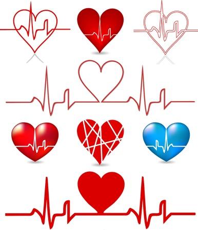 Set hearts beats graph  Vector Vettoriali
