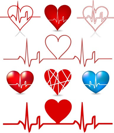 pulse: Set hearts beats graph  Vector Illustration