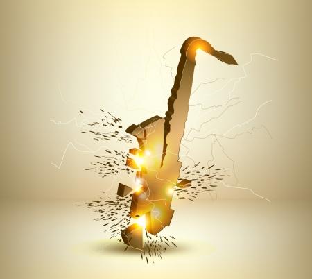 Gold saxophone crash