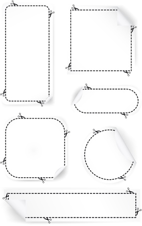 Scissors Cutting Out Coupons set Illustration