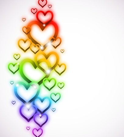 Rainbow Heart with Sparkles on white