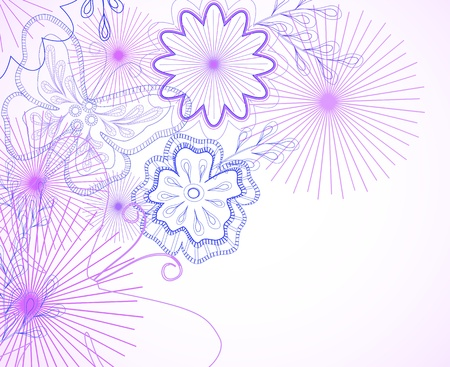 Hand-drawn flowers and butterfly Vector