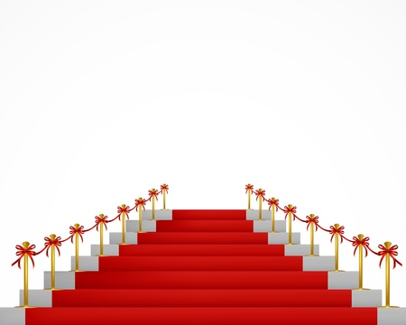 rope barrier: Red carpet and stairs for VIP persons   Illustration