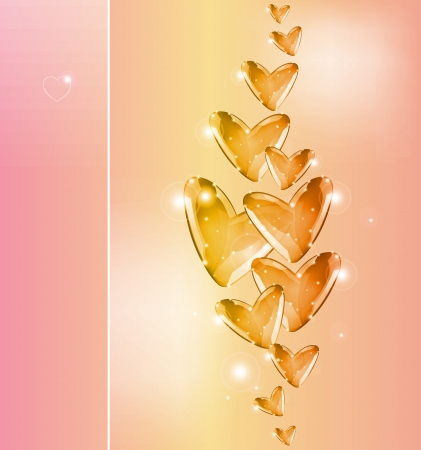 Bubbles Of gold Hearts  Valentine  day background Stock Vector - 17242732