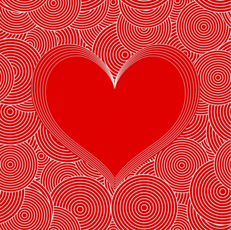 Seamless Swirl Pattern with red heart Stock Vector - 17247496