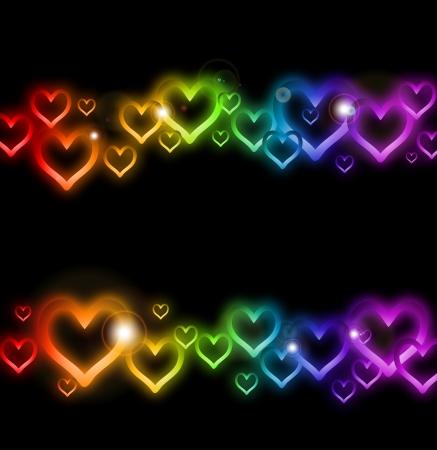Rainbow Heart Border with Sparkles    Stock Vector - 17284867