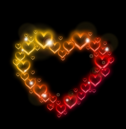 Heart Border with Sparkles    Stock Vector - 17284864
