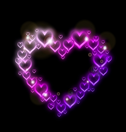 Pink Heart Border with Sparkles    Illustration