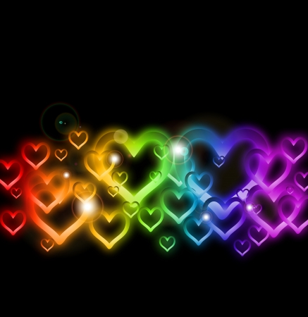 Rainbow Heart Border with Sparkles    Stock Vector - 17284866
