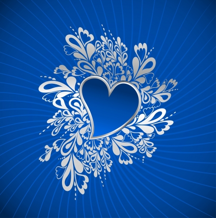 Blue Heart To The St Valentine    Vector