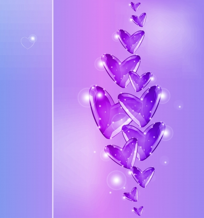 Bubbles of violet Hearts  Stock Vector - 17352881