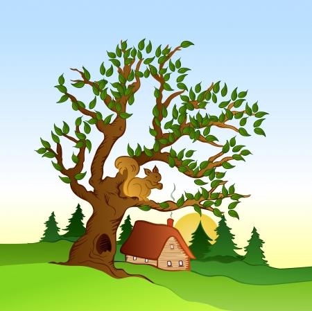Village summer landscape   illustration Stock Vector - 17367023