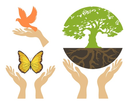 Nature Icons with hands   set Stock Vector - 17367019