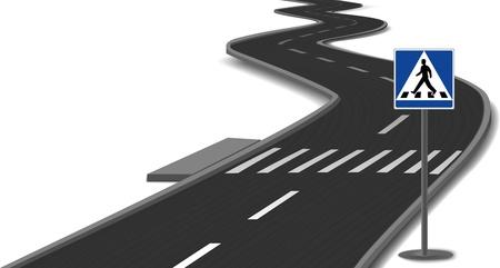Crosswalk stripes on road