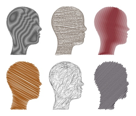 Set sketchy illustration heads   Vector