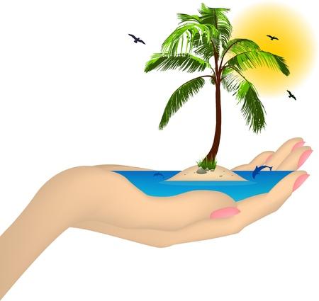 Isla del mar con la palma de una mano femenina