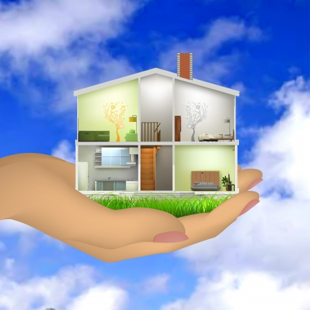 Woman s hand holding a house cut with interiors Vector