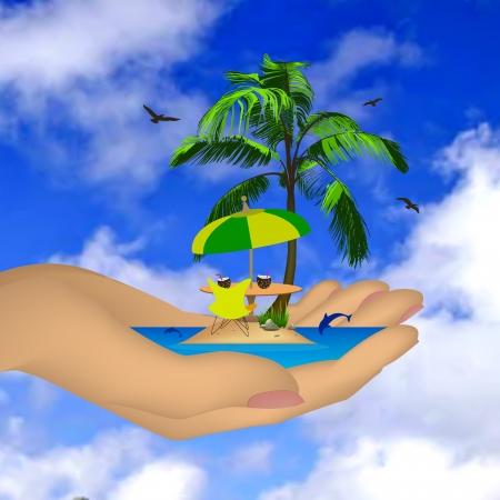 Isla del mar con la palma de una mano femenina Vector