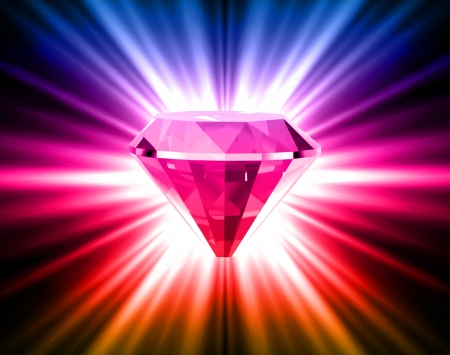 glister: Colorful diamond on bright background  Illustration