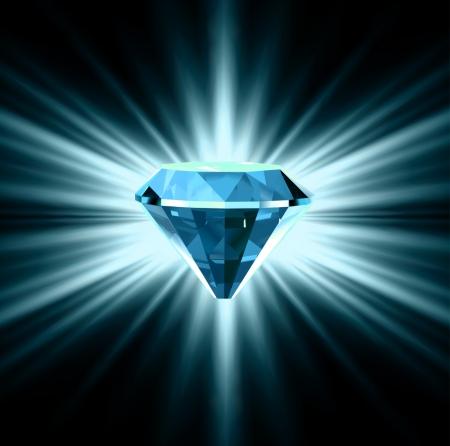 Diamante azul sobre fondo brillante
