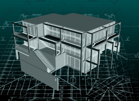 Architecture model house with plan and blueprints royalty free 19672229 architecture model house with blueprint vector malvernweather Choice Image