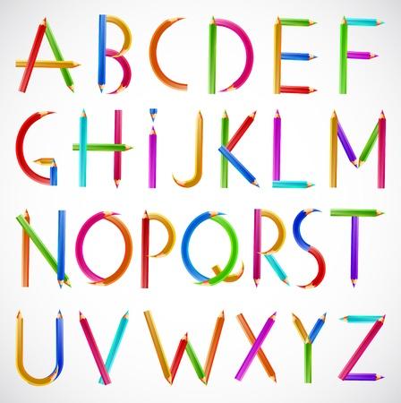 Colorful alphabet of pencils  Vector Illustration