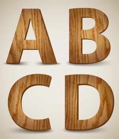 Grunge Wooden Alphabet Letters A, B, C, D