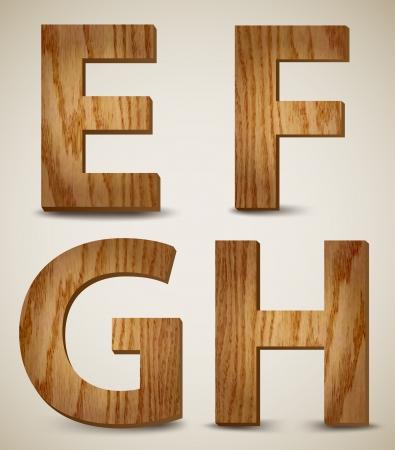 Grunge Wooden Alphabet Letters E, F, G, H  Vector