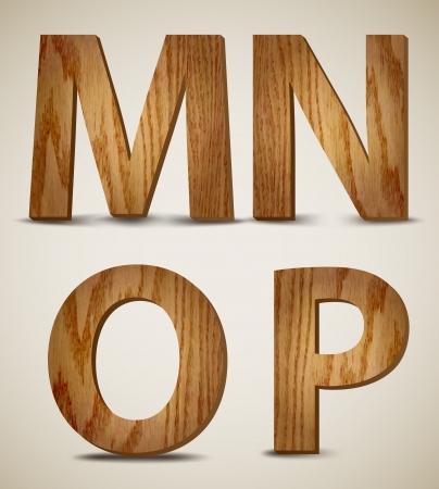 Grunge Wooden Alphabet Letters M, N, O, P