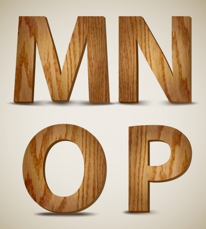 Grunge Wooden Alphabet Letters M, N, O, P