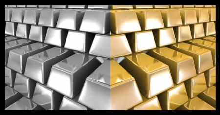 Gold and silver bars  Vector Vector