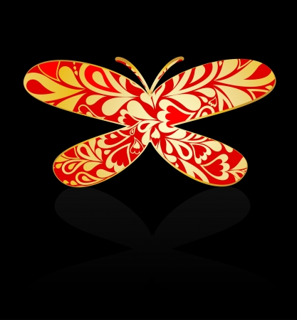 Gold ornamental butterfly  Vector Vector