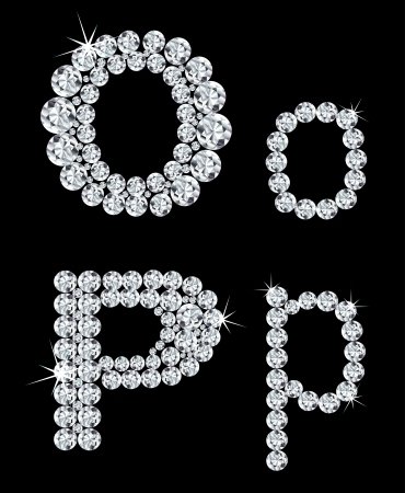 diamond letters: Set of diamond alphabetic letters