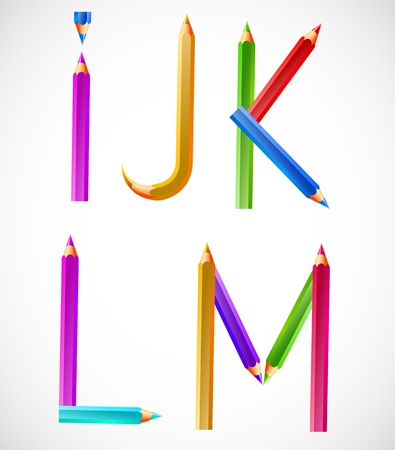 Colorful alphabet of pencils (I, J, K, L, M). Vector illustration Vector