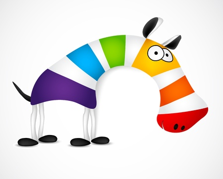 Colored striped zebra. Vector illustration