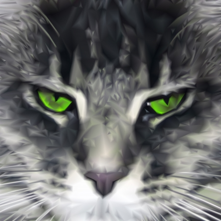watchful: Close-up of green-eyed Maine Coon cat. Vector illustration Illustration