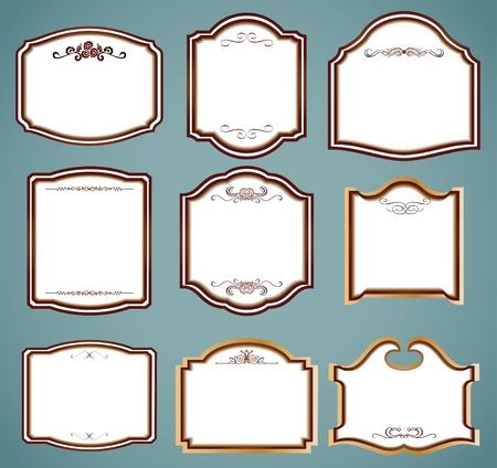 Set of ornate frames  Vector illustration illustration