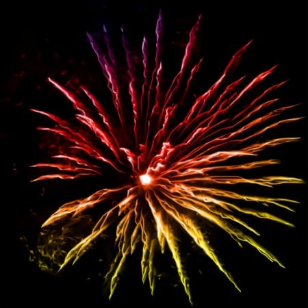 detonation: Fireworks in the night sky Stock Photo