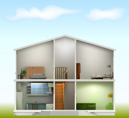 wood house: House cut with interiors on against the sky. Vector illustration