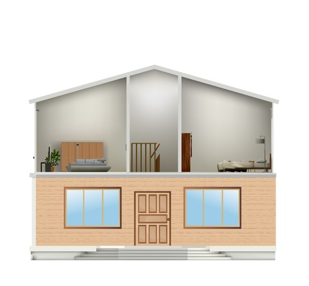 House cut with interiors and bottom part facade. Vector illustration Vector