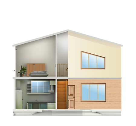 House cut with interiors and right part facade. Vector illustration Vector