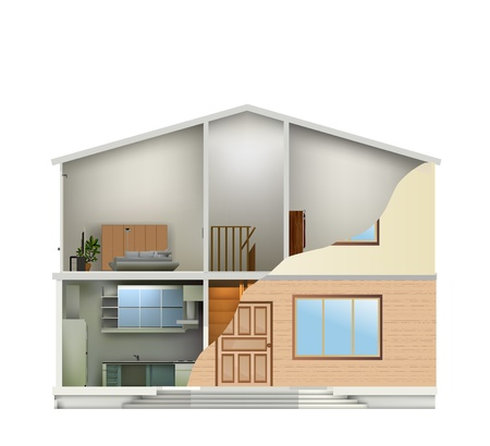 House cut with interiors and part facade. Vector illustration Vector