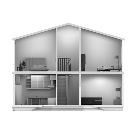 House cut with interiors in black white colours. Vector illustration