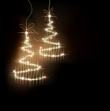 funny sparkler tree with star on dark. Vector