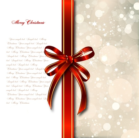 Big red bow on a magical Christmas letter. Vector