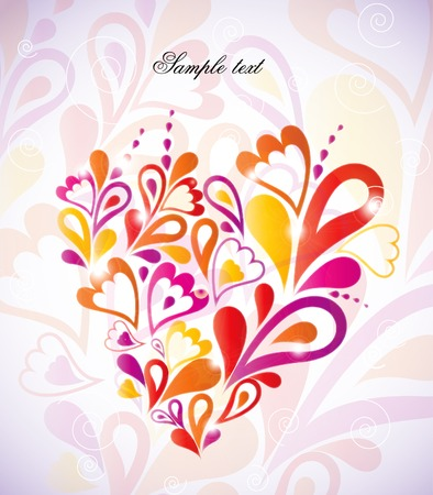 Heart Swirls in the Shape. Vector Illustration Stock Photo