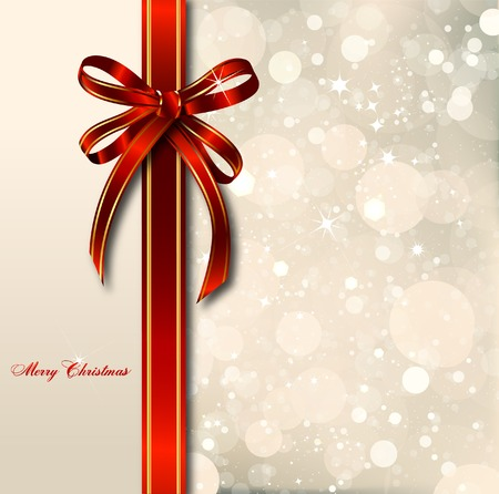 Big red bow on a magical Christmas letter. photo